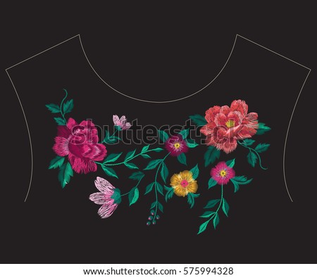 Embroidery colorful simplified ethnic neck line floral pattern with roses. Vector symmetric traditional folk flowers ornament on black background for design