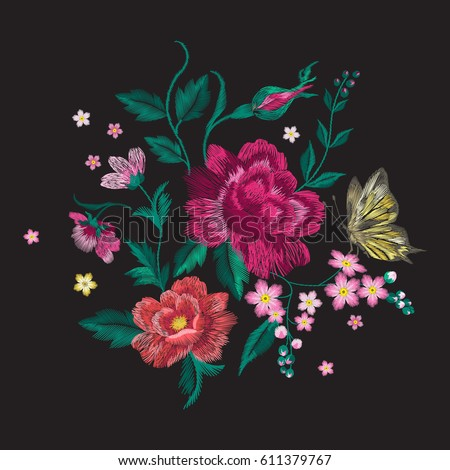 Embroidery colorful trend floral pattern with butterfly. Vector traditional folk roses and forget me not flowers bouquet on black background for clothing design