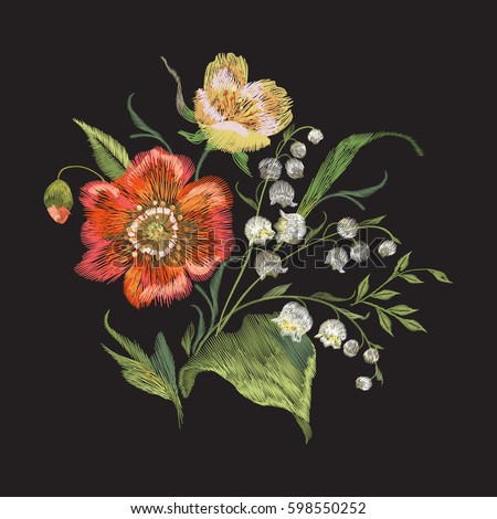 Embroidery colorful trend floral pattern with poppies and lilies of the valley. Vector traditional folk flowers bouquet on black background for design.