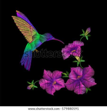 embroidery crewel hummingbird