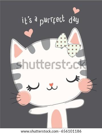 Embroidery cute cat vector design.