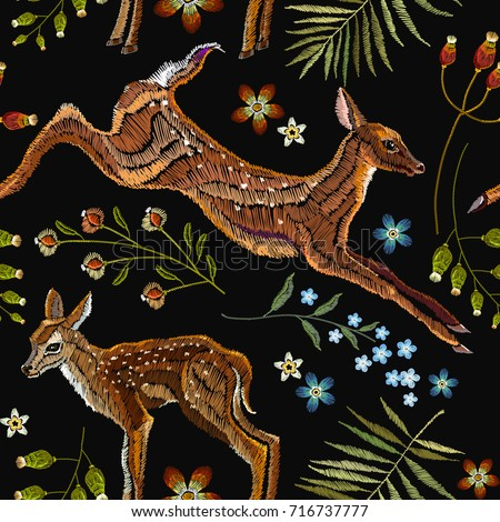 embroidery deer  spring