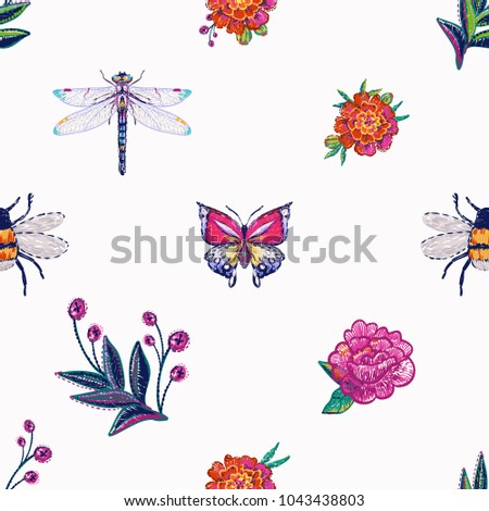 embroidery dragonfly  tropical