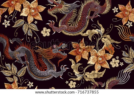 embroidery dragons and flowers