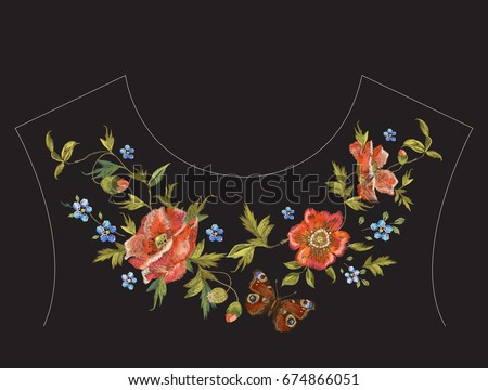 embroidery floral neck line