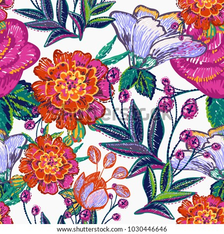 Embroidery floral patches seamless pattern with marigold flower, blue flowers, pink rose, peony embroideries, decorative branch, berry branches in vintage watercolor style. Vector stitching.