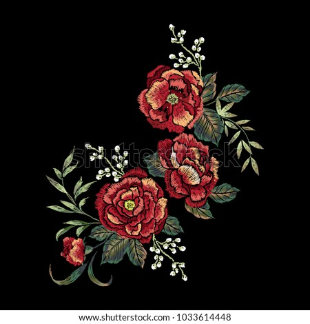 Embroidery floral pattern with red rose. Vector embroidered elements with flowers for wearing design.