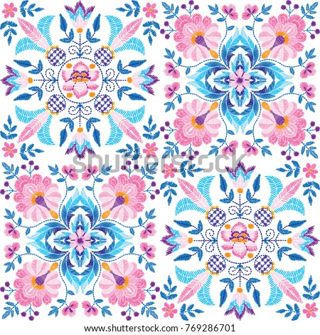 Embroidery floral seamless pattern, decorative textile ornament, pillow or bandana decor. Bohemian handmade style background design.