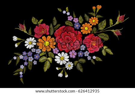 Embroidery flower rose poppy daisy gerbera herb sticker patch fashion print textile vector illustration art