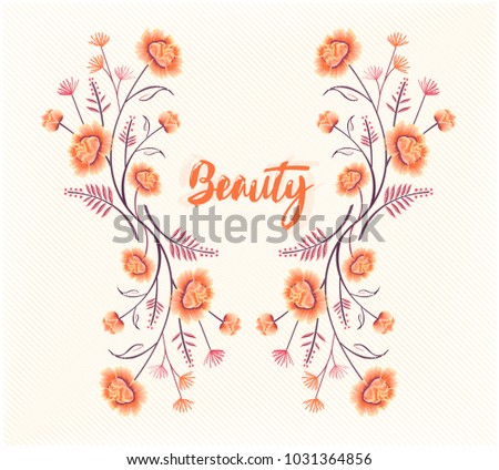 embroidery flowers colorful seamless pattern with slogan