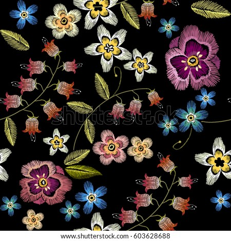 embroidery flowers seamless