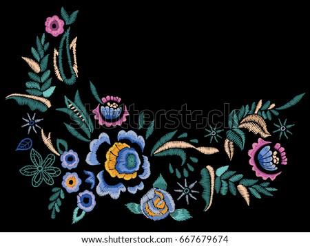 embroidery folk neck line