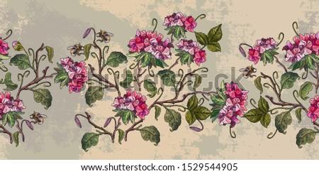 Embroidery geranium spring flowers horizontal horizontal seamless pattern. Template for design of clothes. Botanical fashion art