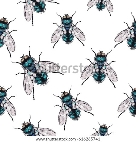 embroidery green fly fashion