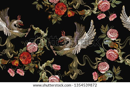 Embroidery griffins and red roses, pink peonies seamless pattern. Medieval art. Gothic template tapestry renaissance style. Template for clothes, t-shirt design