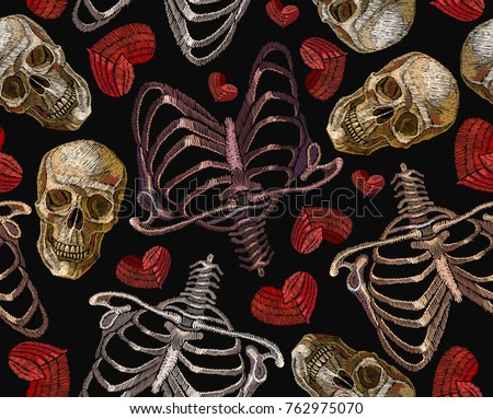 embroidery human rib cage  red