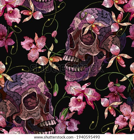 Embroidery human skull and pink orchid flowers. Halloween seamless pattern. Medieval style. Tropical background. Fashion clothes template and t-shirt design. Dark gothic art Zdjęcia stock ©