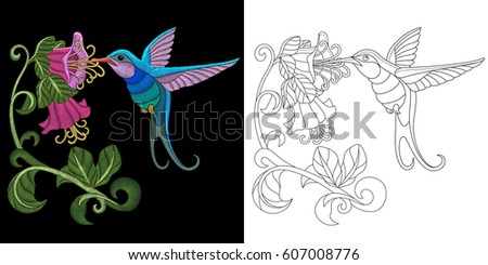 embroidery hummingbird design