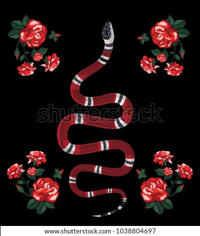 Embroidery illustration with snake and flowers