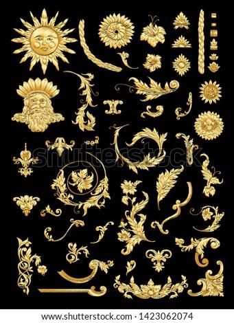 Embroidery imitation. Decorative elements Inbaroque, rococo, victorian, renaissance style. Trendy frolar vintage pattern.  Vector illustration.
