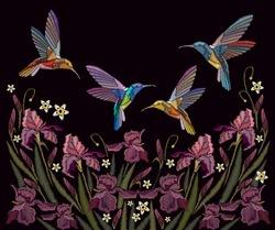 Embroidery irises and birds. Beautiful spring purple irises and humming birds, clothes template, t-shirt design