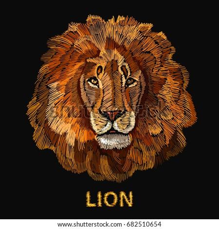 embroidery lion fashion modern