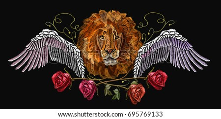 embroidery lion wings and roses