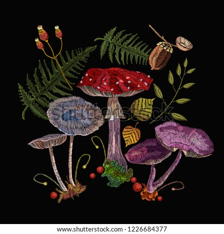 Embroidery mushrooms. Fashion nature template for clothes, textiles, t-shirt design. Fly agarics, toadstools, forest art