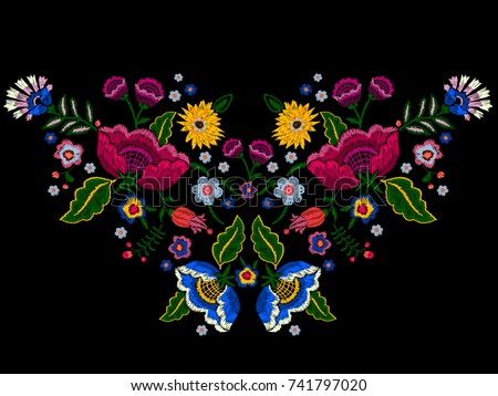 Embroidery native neckline pattern with simplify flowers. Vector embroidered traditional floral design for fashion wearing