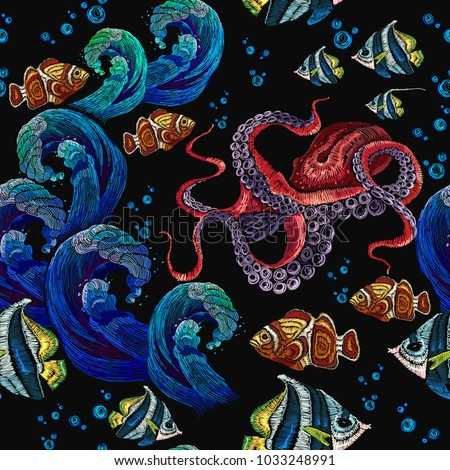 embroidery octopus  sea wave