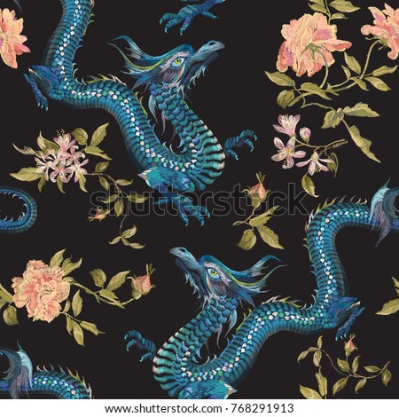 Embroidery oriental floral pattern with dragons and gold roses. Vector seamless embroidered template with flowers and animal for fashion design.