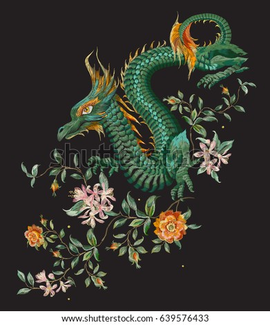 embroidery oriental floral