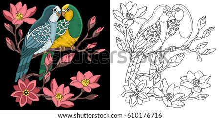 embroidery parrots design
