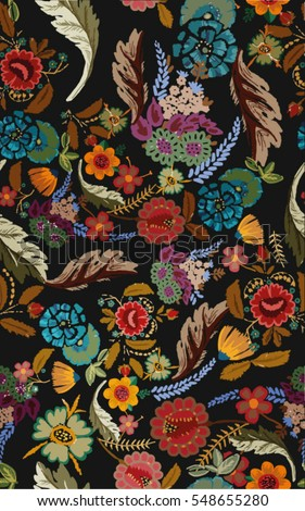 embroidery patch flowers  illustration pattern