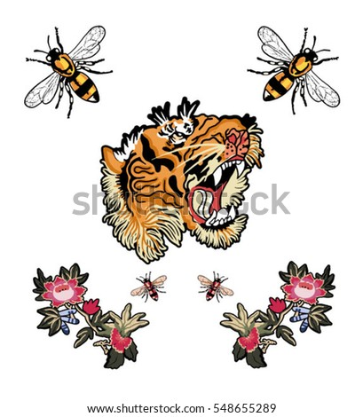 embroidery patch flowers tiger