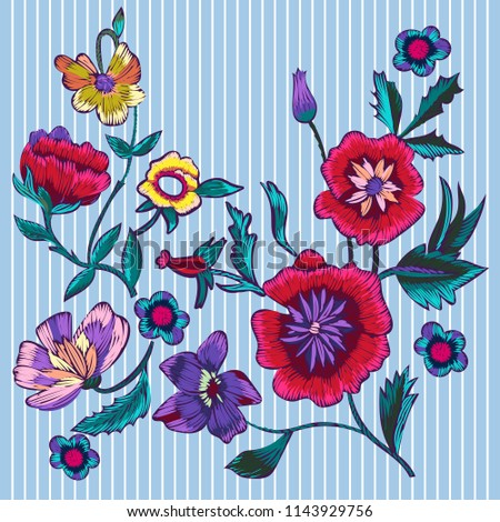Embroidery patches with poppies and meadow flowers. Vector embroidered floral design.