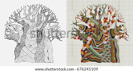 Embroidery Pattern. Hand stitched Embroidered Baobab tree. African tree. Ethnic wall art embroidery home decor. Boho, crafts. Hand drawn doodle. Zentangle style. Linen cloth texture. Vector.