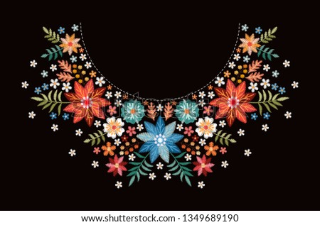 Embroidery pattern with beautiful colorful flowers for neckline. Floral design for fashion blouses and t-shirts. Ethnic embroidered ornament.