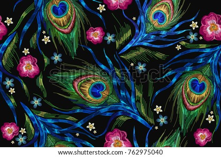 embroidery peacock feathers and