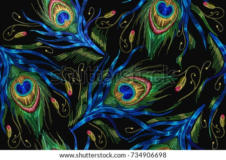 Shutterstock Embroidery peacock feathers seamless pattern. Classical fashionable embroidery beautiful peacocks feathers. Fashionable template for design of clothes. Tails of peacocks vector
