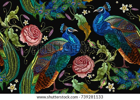 embroidery peacocks and flowers
