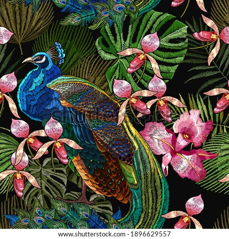 embroidery peacocks and orchid