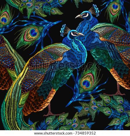embroidery peacocks seamless