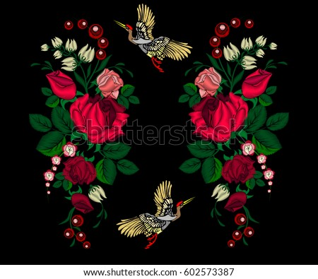 embroidery pink roses  flowers