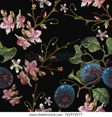 embroidery plums branch and