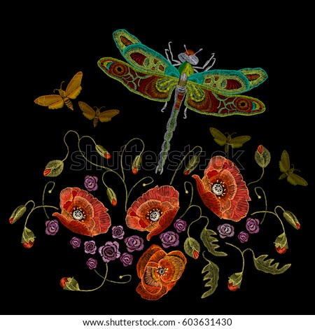 embroidery  poppies dragonfly