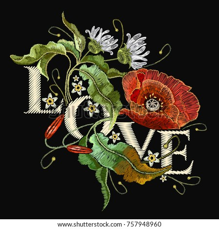 embroidery poppies slogan love