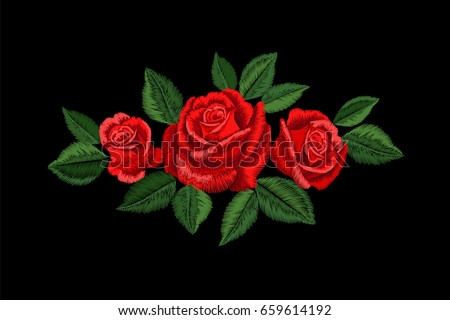 embroidery red rose fashion