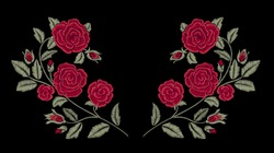 Embroidery. Red roses. Fashion design. Vector floral print. Flowers.