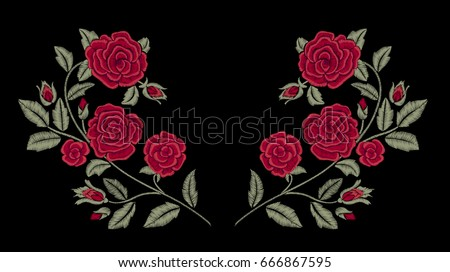embroidery red roses fashion